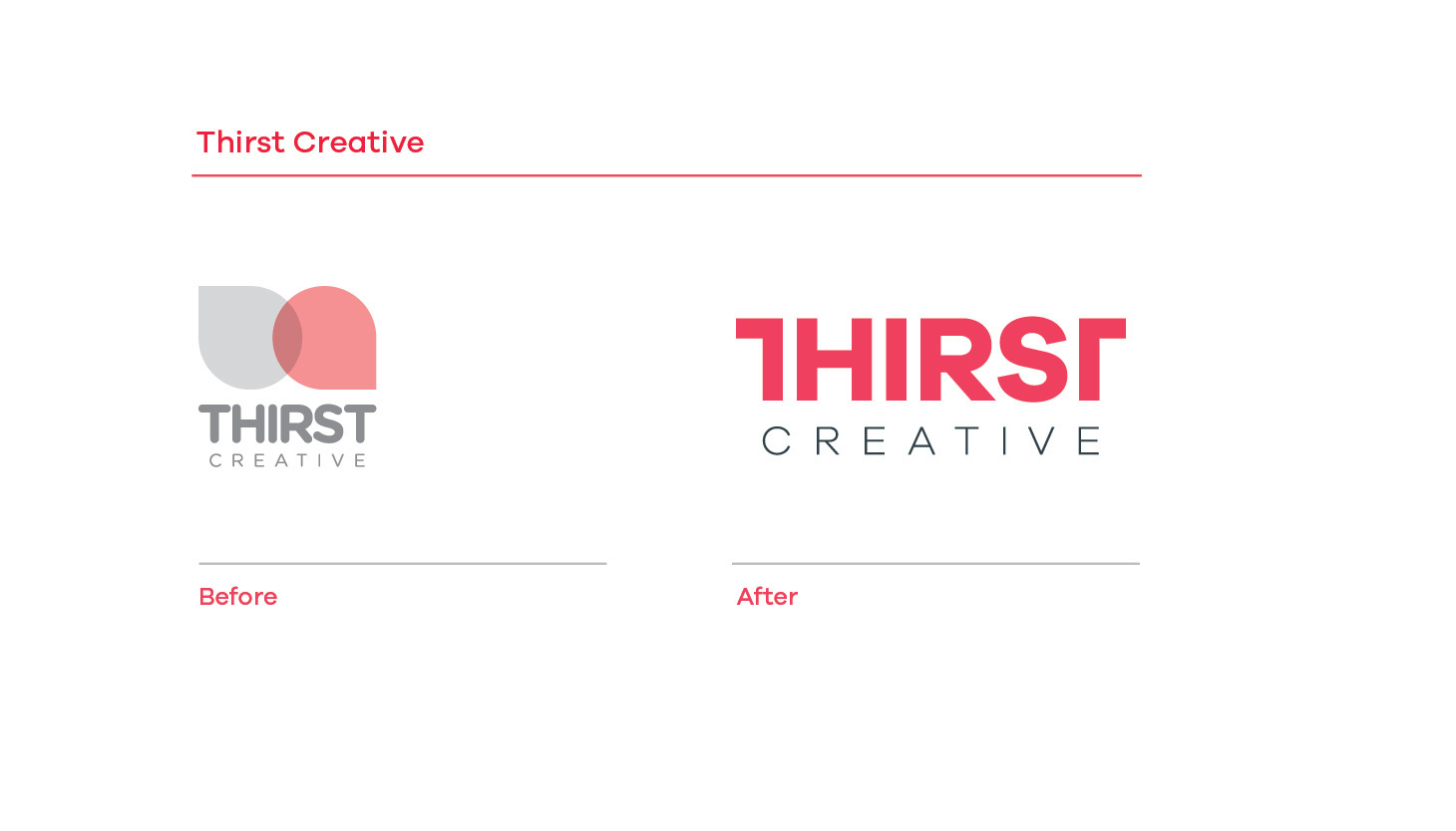 Thirst Creative before and after branding