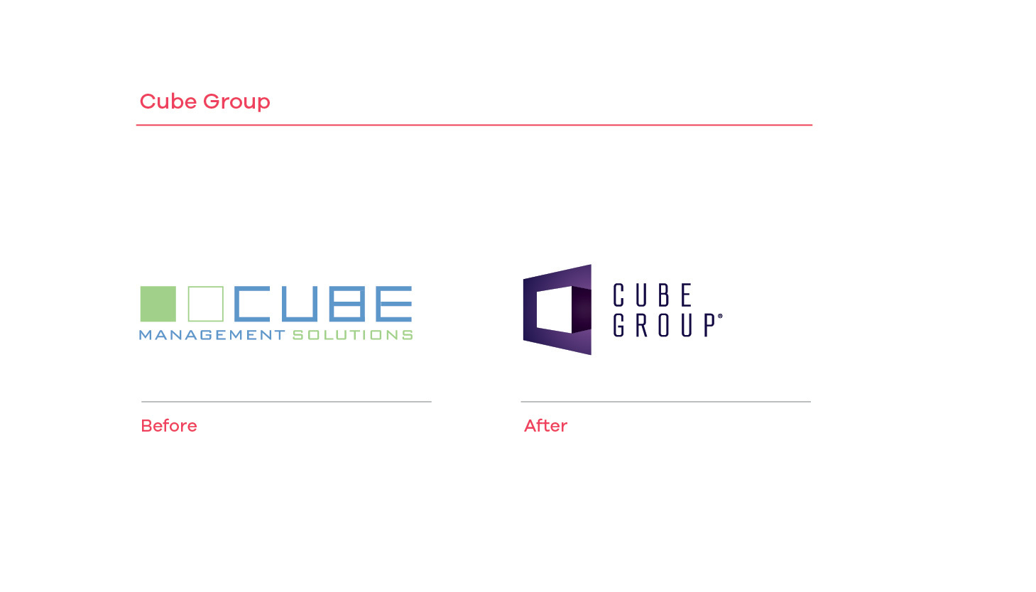 Cube Group before and after branding